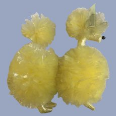 Poodle Dog Mid-Century Yellow Soft Plastic Hand Made