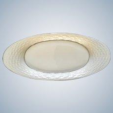 "Lenox Ivory w/Silver Trim Oval Basket Weave Bread Tray Dish 13-1/2"""