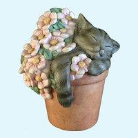 Lenox Pretty In Pink Cat Sleeping in Flower Pot Figurine