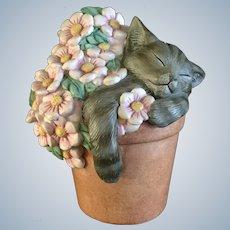 Lenox Pretty In Pink Kitty Cat Gray Sleeping in a Flower Pot Porcelain Figurine 2000