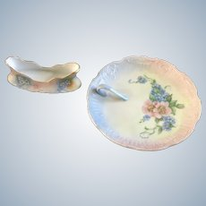 H&C Bavaria Forget Me Nots Spoon Holder & Nappy Dish Hand Painted Signed Ferguson