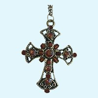 Beautiful Red to Rainbow Silver-tone Cross Necklace