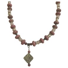 Pink Rose & Mauve Colored Beaded Silver-tone Necklace