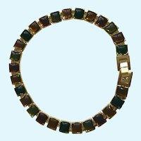 "Autumn Fall Leaves Color Gold-tone Bracelet 7-1/2"""