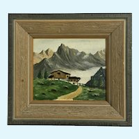Swiss Alps House Mountain Landscape Miniature Oil Painting