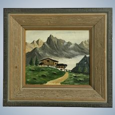 Swiss Alps House Mountain Landscape Miniature Oil Painting