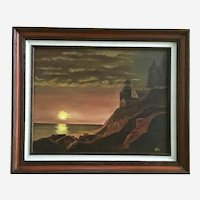 F L Satre, Bass Harbor Head Lighthouse at Sunset Oil Painting