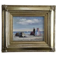 Jully Minno, Early Evening at the Beach, Oil Painting Signed by Artist