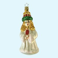 Santa Lucia Christmas Ornament Inge Glas Old World Blown Glass Germany