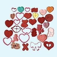 Vintage Valentines Hallmark Cookie Cutters Hearts, Love, Cupids 31 pc
