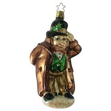 Friendly Solicitor Christmas Carol Ornament Inge Glas Old World Blown Glass Germany