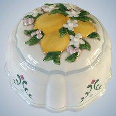 1986 Le Cordon Bleu Lemons and Flowers Kitchen Mold Porcelain Pottery Wall Decor