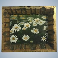 V Atkinson, Daisy Flowers Plain Air Oil Painting Signed by Artist