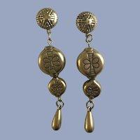 Dangling Gold-Tone Earrings For Pierced Ears