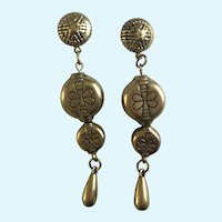 Dangling Gold-Tone Earrings For Pierced Ears