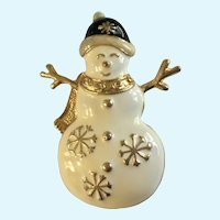 Cute Christmas Snowman Brooch Pin with a Smile