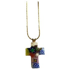 "Millefiori Cross Pendant on Gold-Tone Chain Necklace 16"" Long"