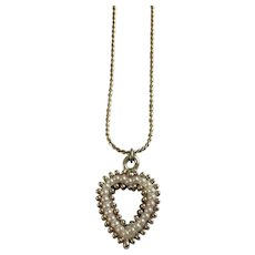 Necklace with Heart Pendant on Gold-Tone Chain Faux Pearls