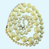 Light Green Florescent Glow Beaded Necklace 33""