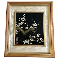 Little Bird on Flowering Cherry Blossom Tree Reverse Glass Painting Japan