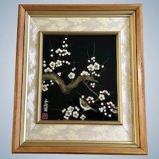 Little Bird on Flowering Cherry Blossom Tree Reverse Glass Painting Japan