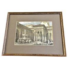 Patio de los Leones, Court of the Lions Steel Etching Print