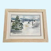 Elvira Shouldice, Winter Shopping, Snow Covered Landscape Watercolor Painting Signed by Artist