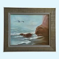 Barbara Olsen, Seagull Coastal Seascape Oil Painting Signed by Artist