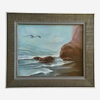 Barbara Olsen, Seagull Coastal Seascape Oil Painting Signed by Artist