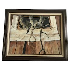 M Campbell, Kitty Cats in a Windowsill Oil Painting Signed by Artist