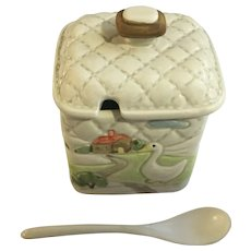 Quilted Farm Duck Condiment Dish Jelly Jam Jar with Spoon Otagiri 1982