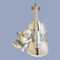 Mid-Century Lefton White Cello Angel Gold Painted Vase Japan