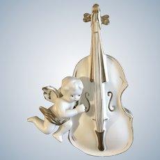 Mid-Century Lefton White Cello Angel Gold Painted Vase Japan 3097