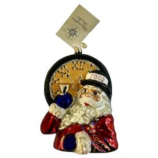 Christopher Radko New Year's Nick Santa Ornament Glass Retired 2002 Limited Edition
