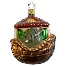 Noah's Ark Christmas Ornament Inge Glas Old World Blown Glass Germany