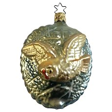 Flying Owl Christmas Ornament Inge Glas Old World Blown Glass Germany #1601