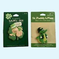 Hallmark Irish 1989 Ziggy and Alligator Saint Patrick's Day Lapel Pins