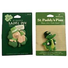 Hallmark 1989 Ziggy and Alligator Saint Patrick's Day Lapel Pins