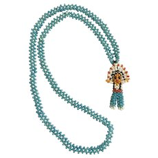 Vintage Small Beaded Figural  Indian Chief Man Necklace