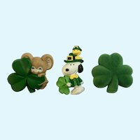 Vintage Hallmark Irish Saint Patrick's Day Snoopy Woodstock Mouse Clover Pins