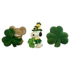 Vintage Hallmark Irish Saint Patrick's Day Snoopy Woodstock Mouse Clover Pins