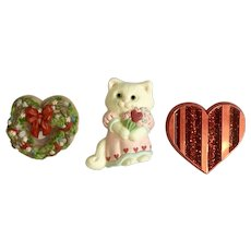 Hallmark Valentines Heart & Cat Pins 1985