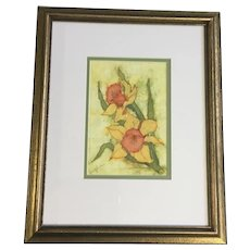 Rae Jensen, Daffodils Floral Batik Painting Signed By Artist