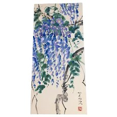 Asian Cascading Wisteria Blue Moon Flowers Watercolor Painting Signed By Artist