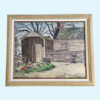 Earl Scott, Rustic Barn Landscape Oil Painting on Board Signed By Artist
