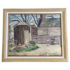 Earl Scott, Rustic Barn Landscape Oil Painting on Board Signed By Artist
