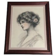Florence M. Leicester, Victorian Lady Portrait Pastel Painting Signed By Listed Artist