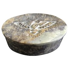 Granite Stone Trinket Box Carved Flying Eagle Motif Made in India