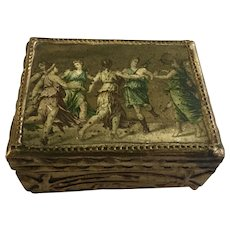 Vintage Gold Painted Wooden Trinket Box Neoclassical Grecian Dancers