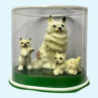 Persian Cat Kittens Bone China Miniatures Shiken Japan